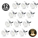 kitchen 67 Recessed LED Deck Lighting Kits 0.6W DC12V Low Voltage Warm White φ30mm Waterproof IP 67 Led In Ground Lighting for Steps StairPatio FloorPool Deck Kitchen Outdoor Lamp (12Pcs/Pack) [Energy Class A +]
