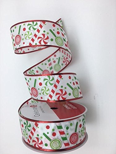 Celebrate IT- Ribbon - Christmas Peppermint Candy Ribbon 2.5 in x 25 ft ...- Ribbon 2.5 in x 100 ()