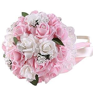 KSDN Artificial Rose Flower Bridal Bouquet, Lace Foam Buds Globular Handmade Bridesmaid Handhold, Banquet Decor for Wedding,Hotel,Home,Reception Pink 64