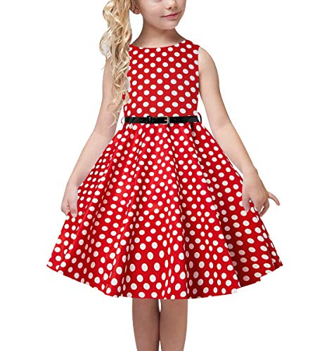 uideazone Cute Girls Summer Adorable Twirly Dress White Polka Dot Prints Birthday Dress with Belt for Kids Children 10-11 Years Red