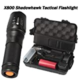 Flashlight,Dafana 6000lm Genuine SHADOWHAWK X800 Adjustable 5 Modes Tactical Flashlight LED Zoom Military Torch G700 with Battery and Flashlight Holder