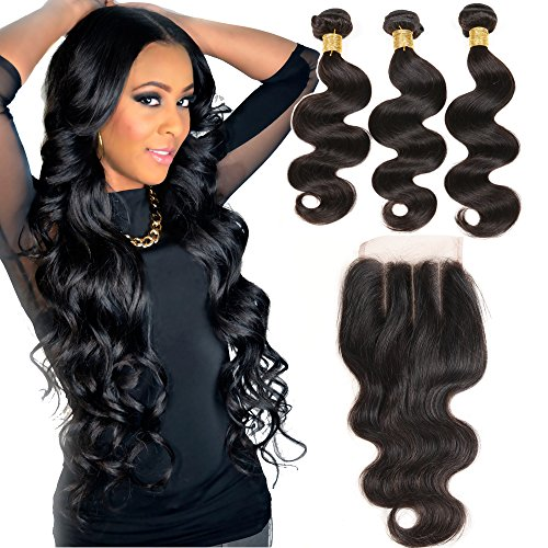 VRHOT 8A Body Wave Bundles with Closure 3 Part Brazilian Virgin Human Hair Extensions Weave Unprocessed Hair Bundles with Three Part Lace Closure 4x4 (14'' 16'' 18'' with 14'' (3 Part Closure)) (Spanish Wave)