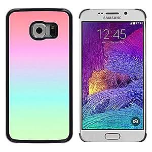 Atmósfera vibrante azul del trullo del rosa melocotón - Metal de aluminio y de plástico duro Caja del teléfono - Negro - Samsung Galaxy S6 EDGE (NOT S6)
