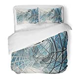Emvency Bedding Duvet Cover Set Queen (1 Duvet Cover + 2 Pillowcase) Blue Corporate Futuristic Building Construction Steel Office Future Cityscape Mirror Hotel Quality Wrinkle and Stain Resistant