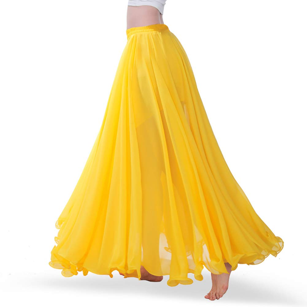 ROYAL SMEELA Women's Belly Dance Skirt ATS Voile Maxi Full Tribal Bellydance Chiffon Skirt, Yellow, One Size by ROYAL SMEELA