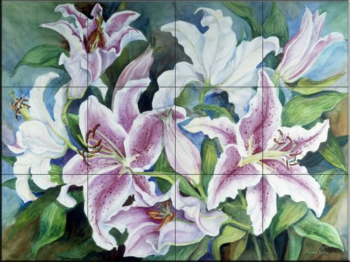 Ceramic Tile Mural - Lilies of the Field - by Joanne Porter - Kitchen backsplash/Bathroom shower