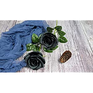 Black Paper Rose Perfect Anniversary Paper Gift Handmade Art Realistic Artificial Roses Unique Gift For Her, Single Long Stem, 01 Flower 2