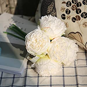 YJYdada Artificial Silk Fake Flowers Peony Floral Wedding Bouquet Bridal Hydrangea Decor (A) 4