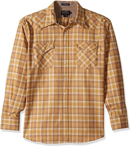 Snap Close Western Shirt - Pendleton Men's Long Sleeve Button Front Classic-fit Canyon Shirt, Watson Gold Ombre, LG