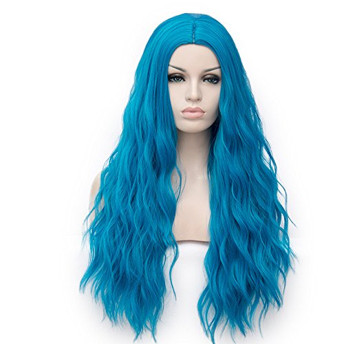 Beauty : YOURWIGS Long Curly Wavy Wigs for Women Blue Cosplay Fluffy Hair Wigs Full Synthetic Halloween Wigs with Wig Cap Z081A
