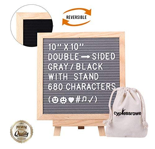 Cypress Rowe Letter Board with Letters Felt Board - 10x10 Double Sided Changeable Letter Boards, Black/Gray Message Board Sign, 680 Characters, Wooden Stand, Bag