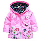 Wennikids Baby Girl Kid Waterproof Floral Hooded Coat Jacket Outwear Raincoat Hoodies Small Pink