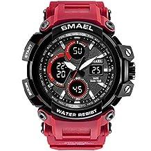 SMAEL Camouflage Watch Men Waterproof Dual Time Display Mens Sport Wristwatch Digital Analog Quartz Watches Male Clock