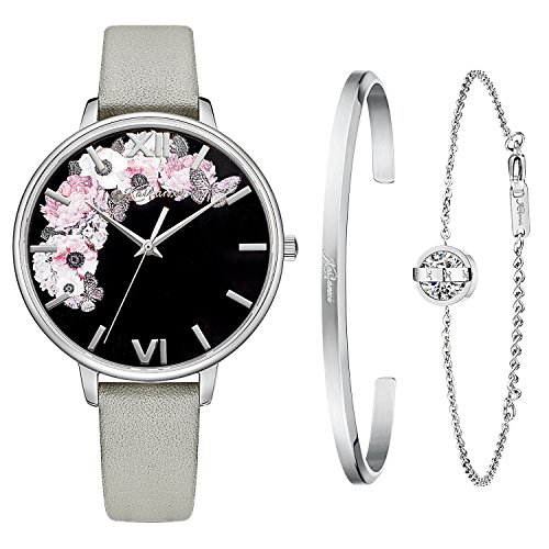 Kaifanxi Women Slim Fashion Quartz Watch Black Dial with Flowers Roman Number Case Milanese Mesh Band (Gray)