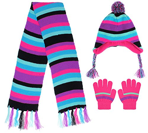 Capelli New York Girls Chunky Stripe Knit Earflap Hat, Muffler and Mittens Set Black Combo S / M