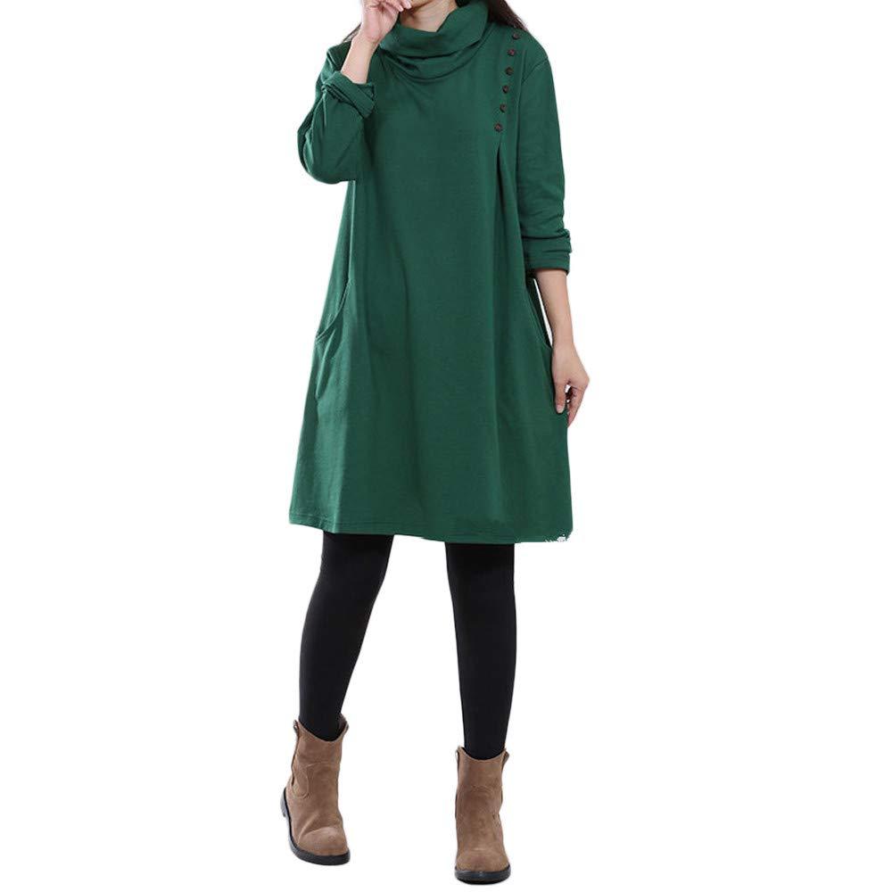 JESPER Women Plus Size Pocket Button Long Sleeves Cotton and Linen Loose Long Dress US 12 Green