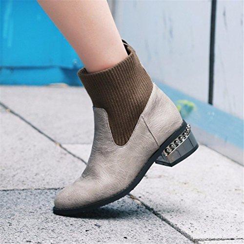 invierno Martin botas cortas con mujer otoño botas gray las e La xZz7TZ