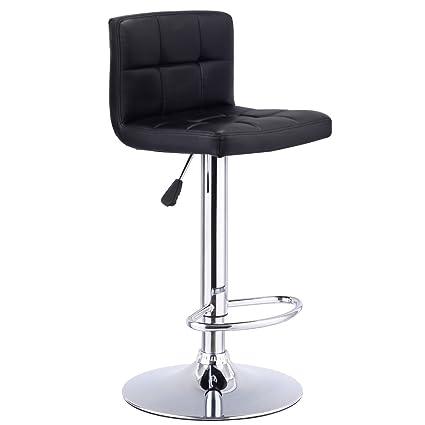 1 PC Bar Stool Swivel Adjustable PU Leather Barstools Bistro Pub Chair Black