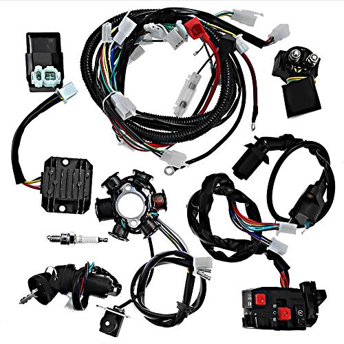 (Complete Wiring Harness Electrics Wire Loom Kit CDI Rectifier Ignition Coil Magneto Stator For GY6 125cc 150cc ATV Quad Go Kart Scooter)