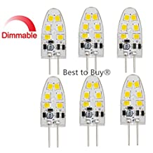 Best to Buy® (6-PACK) Dimmable 1.8-Watt T4 G4 LED Bulb 12-30V AC/DC, 12SMD2835 1.8W Warm White Color (Jc10 Bi-pin 10-18w Replacement)