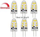 Best to Buy (6-PACK) Dimmable 1.8-Watt T4 G4 LED Bulb 12-30V AC/DC, 12SMD2835 1.8W White Color (Jc10 Bi-pin 10-18w Replacement)