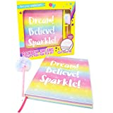 GirlZone: Glitter Rainbow Notebook and Pom Pom