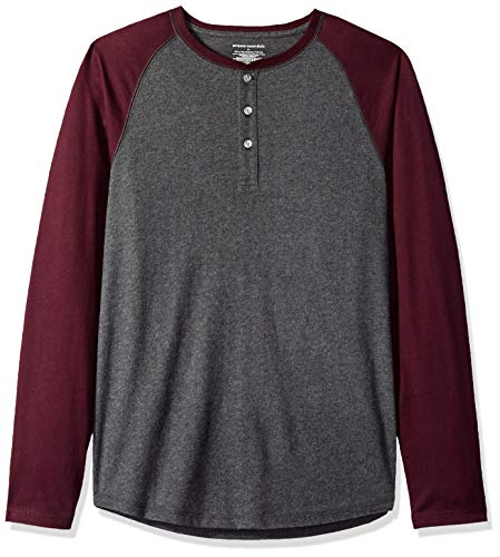Amazon Essentials Men's Slim-Fit Long-sleeve Henley Shirt, Charcoal Heather/Burgundy, Large