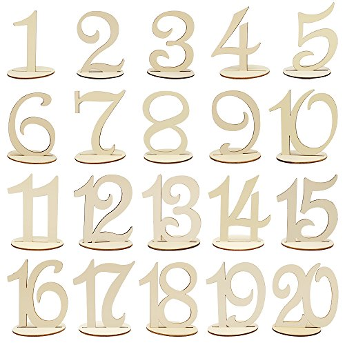 Meetory 1 to 20 Wooden Table Numbers with Holder Base,Wedding Birthday Party Table Decoration