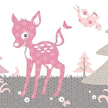 """Wallpaper Border Children """"Little Deer"""" Pink anna wand"""