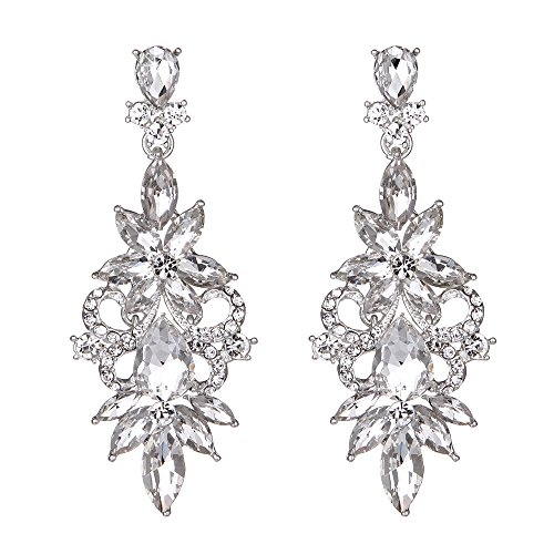 Youfir Bridal Wedding Crystal Chandelier Dangle Earrings for Prom Bridesmaids(Clear) by Youfir