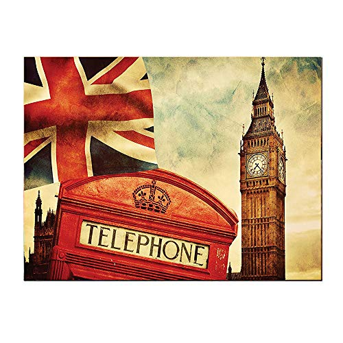 SATVSHOP Home Decoration painting-24Lx36W-London Famous Telephone Booth and Big Ben Vintage Beige and Cinnabar.Self-Adhesive backplane/Detachable Modern Art.