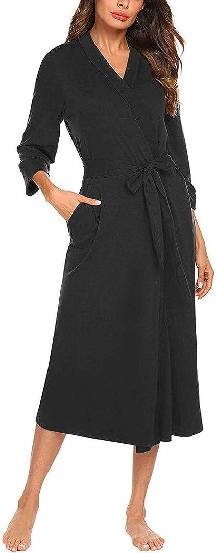 Mujer Vestido de Algodón de Estar por Casa con Estampado Manga ...
