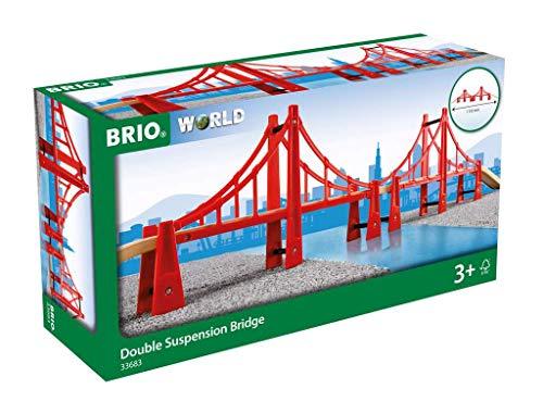 BRIO World – 33683 Double Suspension Bridge | 5 Piece Toy Train Accessory for Kids Age 3 and Up