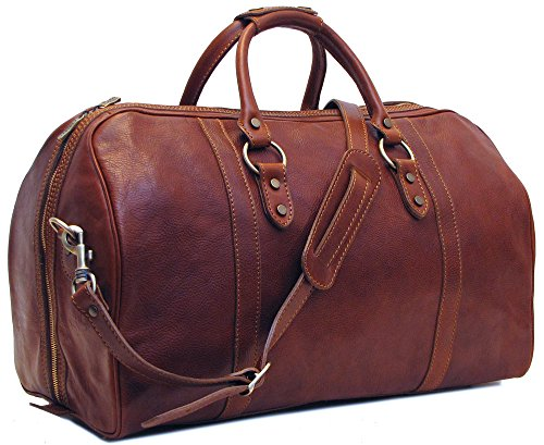 Floto Roma Cabin Bag Saddle Brown Italian Leather Weekender (Italian Leather Duffle)