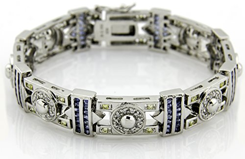 Men's Sterling Silver .925 Original design Bracelet with 140 blue baguette, 40 yellow round, and 100 white round Cubic Zirconia (CZ) Stones and Box Lock, Platinum Plated. Sizes available 8'' 9'' by Sterling Manufacturers
