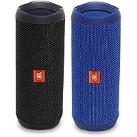 JBL Flip 4 Waterproof Bluetooth Speaker Party Pack (Black & Blue)