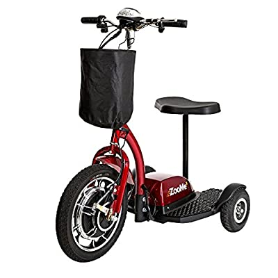 Drive Medical Zoome Three Wheel Recreational Power Scooter, Red