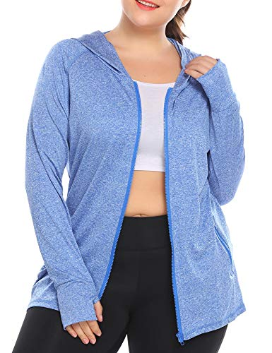 IN'VOLAND Womens Running Jackets Plus Size Lightweight Full Zip Up Track Workout Yoga Athletic Hooded Hoodie with Pockets Blue