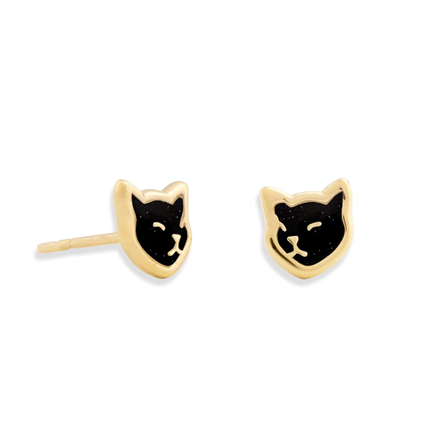 Gold Plated Silver Cat Studs Small Kitten Earrings Polymer Clay Handmade Jewelry NanoStyle Jewelry EAC15G-black-cat-stud-earrings