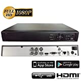 Surveillance Digital Video Recorder 4CH HD-TVI/CVI/AHD H264 Full-HD DVR 2TB HDD HDMI/VGA/BNC Video Output Cell Phone APPs for Home & Office Work @1080P/720P TVI&CVI, 1080P AHD, Standard Analog& IP Cam