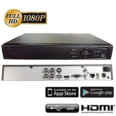 Image of Surveillance Digital Video Recorder 4CH HD-TVI/CVI/AHD H264 Full-HD DVR 1TB HDD HDMI/VGA/BNC Video Output Cell Phone APPs for Home & Office Work @1080P/720P TVI&CVI, 1080P AHD, Standard Analog& IP Cam