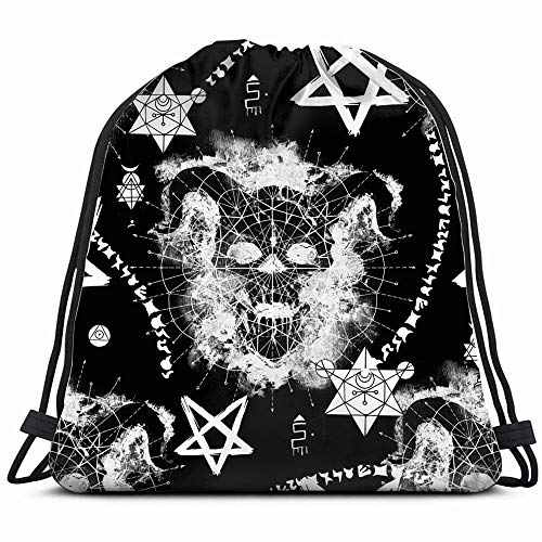 Devil Skull Mysterious Symbols Holidays Signs Drawstring Backpack Gym Sack Lightweight Bag Water Resistant Gym Backpack For Women&Men For Sports,Travelling,Hiking,Camping,Shopping Yoga -