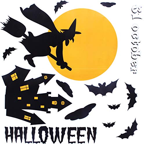 XONOR Halloween Window Clings - Happy Halloween Witch Haunted House Bat Window Decals Party Decorations -