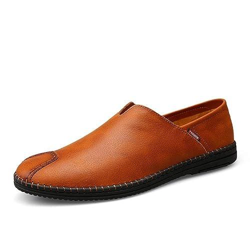 Mocasines de Cuero Genuino para Hombre Zapatos de conducción cómodos de Suela Blanda Ocasional: Amazon.es: Zapatos y complementos