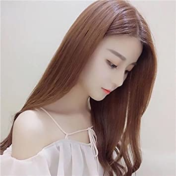 df9f20e7cb2 Amazon.com : Korean girls fashion wig fake hair bangs carve carve long  straight hair straight hair natural repair face : Beauty