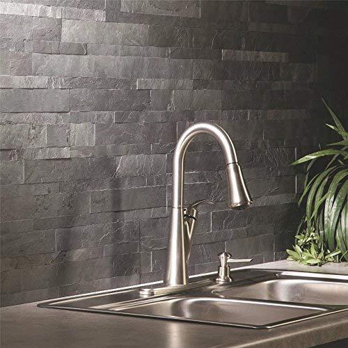 ACP A9082 Peel and Stick Stone Char Slate, 6 in. x 23-1/2 in. - Slate Backsplash Tile