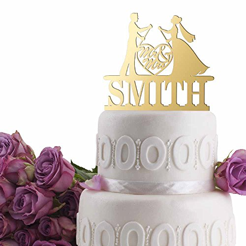 Groom Bride Paddle Board Personalized Wedding Cake Topper Last Name Date Mirrored