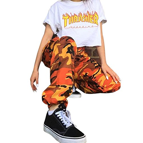 Women Leggings, Gillberry Women Sports Camo Cargo Pants Outdoor Casual Camouflage Trousers Jeans (Orange, S)