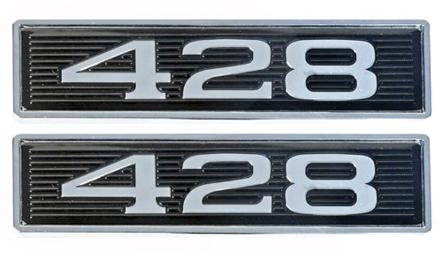 428 Chrome Plated Hood Scoop Emblems - Pair
