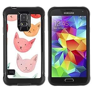 Paccase / Suave TPU GEL Caso Carcasa de Protección Funda para - Orange Red Blue Cat Faces - Samsung Galaxy S5 SM-G900
